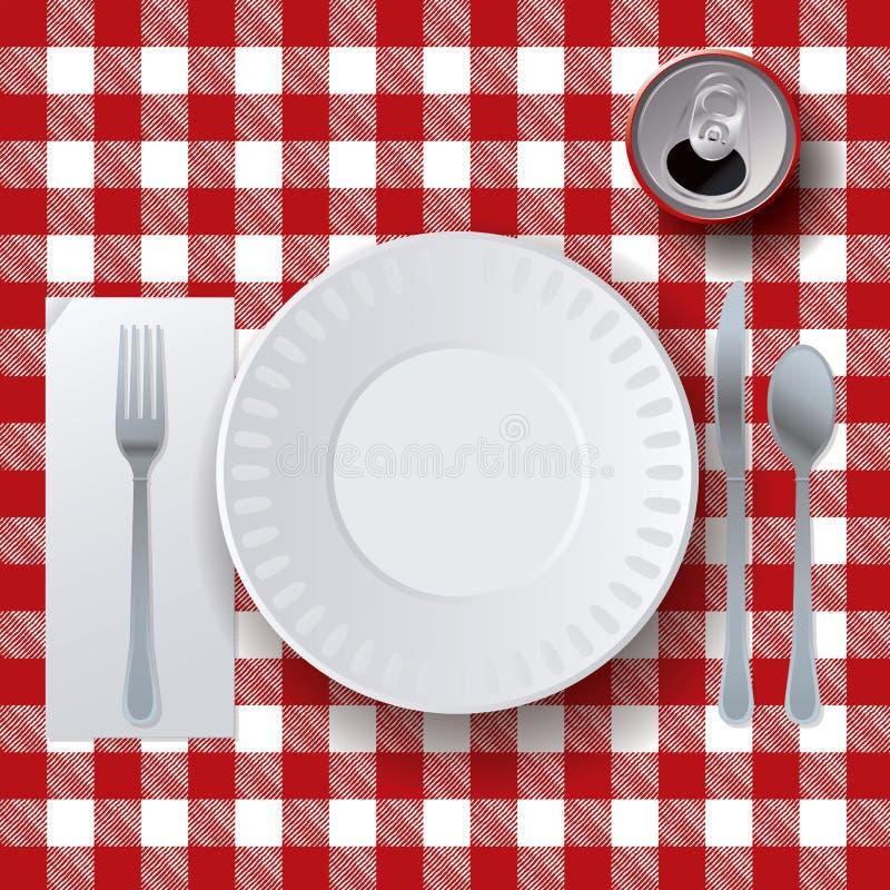 Περιστασιακή να δειπνήσει Placesetting πικ-νίκ απεικόνιση ελεύθερη απεικόνιση δικαιώματος
