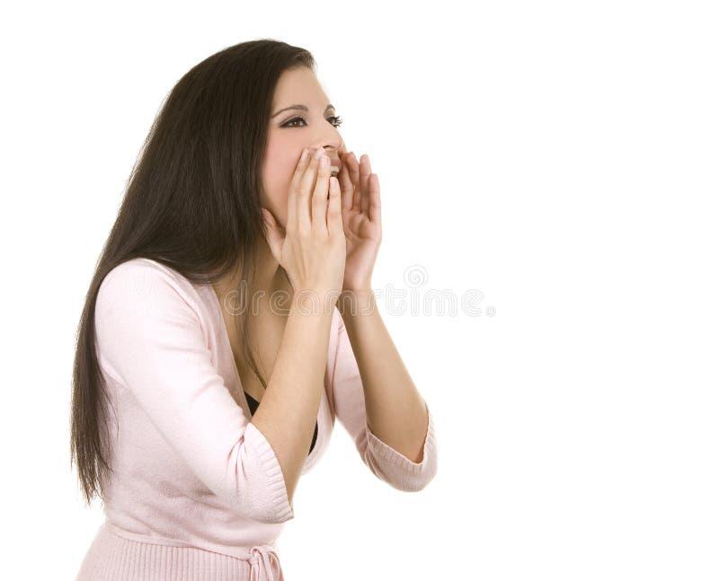 περιστασιακό να φωνάξει brunette στοκ φωτογραφία με δικαίωμα ελεύθερης χρήσης