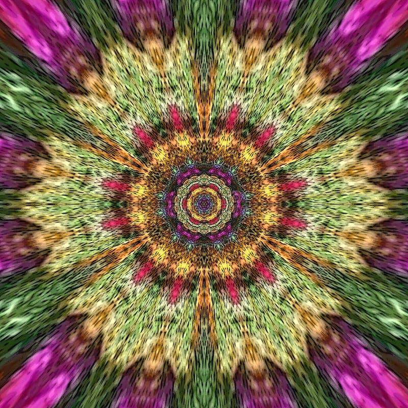 Περιστραφείτε το mandala λουλουδιών πράσινος και ρόδινος, χρωματισμένο βιολέτα σχέδιο ελεύθερη απεικόνιση δικαιώματος