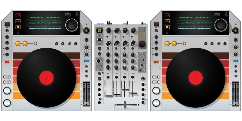 Περιστροφικές πλάκες και αναμίκτης του DJ απεικόνιση αποθεμάτων