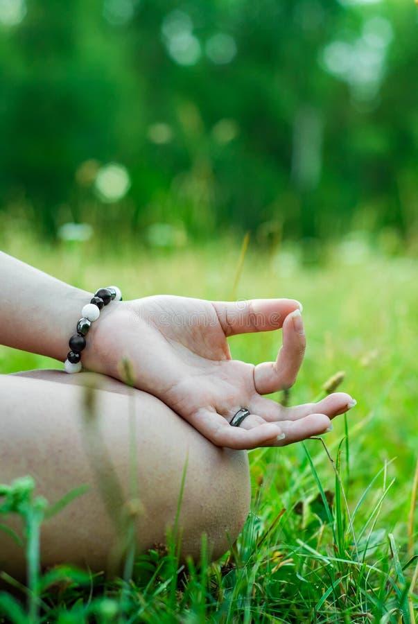 Περισυλλογή γιόγκας στο πάρκο χέρι γυναίκας στο meditate στοκ φωτογραφία
