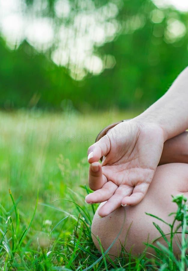 Περισυλλογή γιόγκας στο πάρκο χέρι γυναίκας στο meditate στοκ εικόνα με δικαίωμα ελεύθερης χρήσης