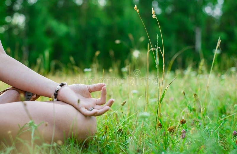 Περισυλλογή γιόγκας στο πάρκο χέρι γυναίκας στο meditate στοκ φωτογραφίες με δικαίωμα ελεύθερης χρήσης