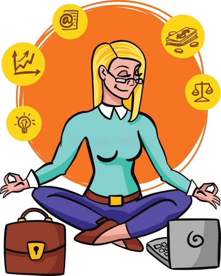 Περισυλλογή mindfulness άσκησης επιχειρηματιών ξεκαθαρίζει τις σκέψεις της, απελευθερώνει τις αγχωτικές σκέψεις και την εκφράζει διανυσματική απεικόνιση