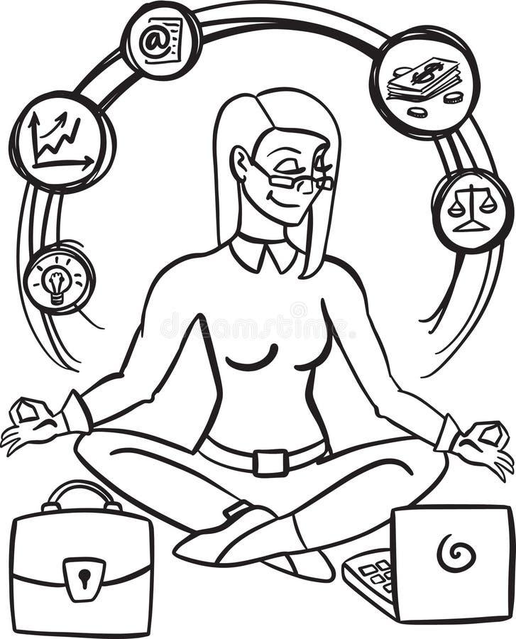 Περισυλλογή mindfulness άσκησης επιχειρηματιών ξεκαθαρίζει τις σκέψεις της, απελευθερώνει τις αγχωτικές σκέψεις και την εκφράζει ελεύθερη απεικόνιση δικαιώματος