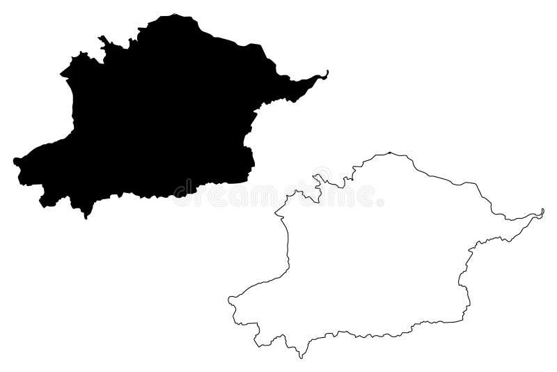 Περιφέρεια Osh Κιργιζία, Κιργκιζία, Περιφέρειες του Κιργιζιστάν απεικόνιση διανυσμάτων χάρτη, σχέδιο σκριπτ Osh ελεύθερη απεικόνιση δικαιώματος