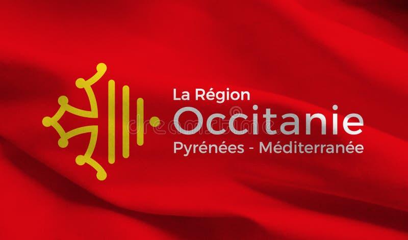 Περιφερειακή σημαία Occitanie, Γαλλία, γραφική επεξεργασία απεικόνιση αποθεμάτων