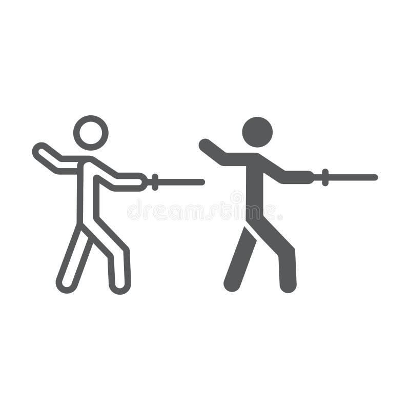 Περιφράζοντας γραμμή και glyph εικονίδιο ατόμων, αθλητισμός και πάλη, σημάδι ξιφομάχων, διανυσματική γραφική παράσταση, ένα γραμμ ελεύθερη απεικόνιση δικαιώματος