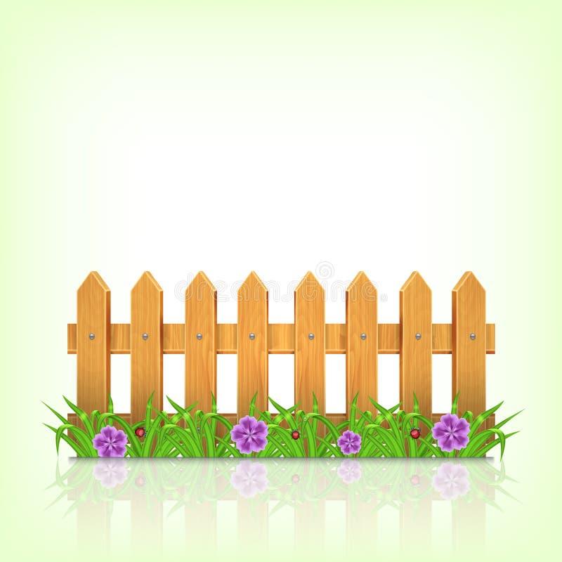 περιφράξτε τους θερινούς ηλίανθους λιβαδιών ξύλινους ελεύθερη απεικόνιση δικαιώματος