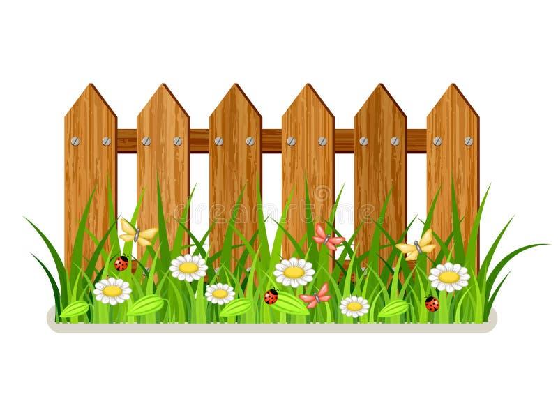 περιφράξτε τους θερινούς ηλίανθους λιβαδιών ξύλινους διανυσματική απεικόνιση