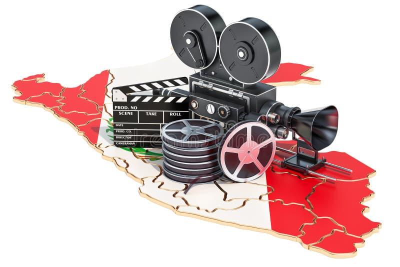 Περουβιανή κινηματογραφία, έννοια βιομηχανίας κινηματογράφου τρισδιάστατη απόδοση διανυσματική απεικόνιση