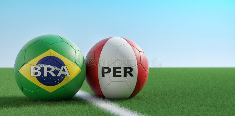 Περού εναντίον Αγώνας ποδοσφαίρου της Βραζιλίας - σφαίρες ποδοσφαίρου στα εθνικά χρώματα της Βραζιλίας και του Περού σε ένα γήπεδ διανυσματική απεικόνιση