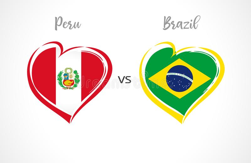 Περού εναντίον της Βραζιλίας, σημαίες ποδοσφαίρου εθνικών ομάδων στο άσπρο υπόβαθρο ελεύθερη απεικόνιση δικαιώματος