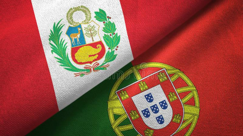 Περού και Πορτογαλία δύο υφαντικό ύφασμα σημαιών, σύσταση υφάσματος απεικόνιση αποθεμάτων