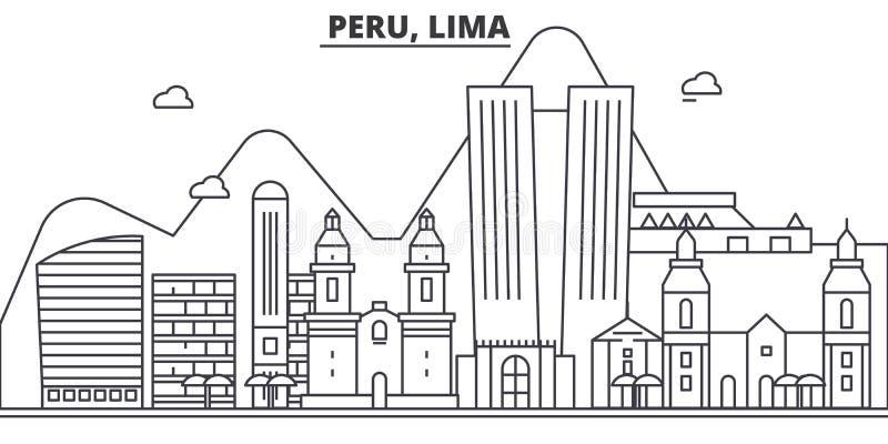Περού, της Λίμα απεικόνιση οριζόντων γραμμών αρχιτεκτονικής Γραμμική διανυσματική εικονική παράσταση πόλης με τα διάσημα ορόσημα, ελεύθερη απεικόνιση δικαιώματος
