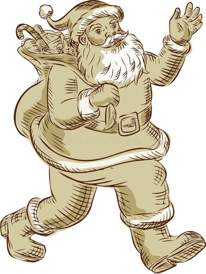 Περπάτημα Άγιου Βασίλη που κυματίζει χαρακτική απεικόνιση αποθεμάτων