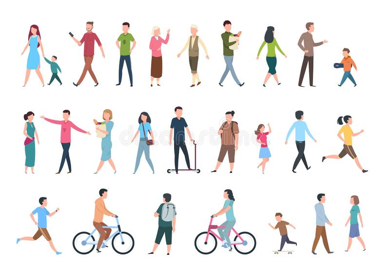 περπάτημα ανθρώπων Πρόσωπα στα περιστασιακά ενδύματα, περίπατοι πλήθους στην πόλη Διανυσματικό ανθρώπινο σύνολο χαρακτήρων διανυσματική απεικόνιση