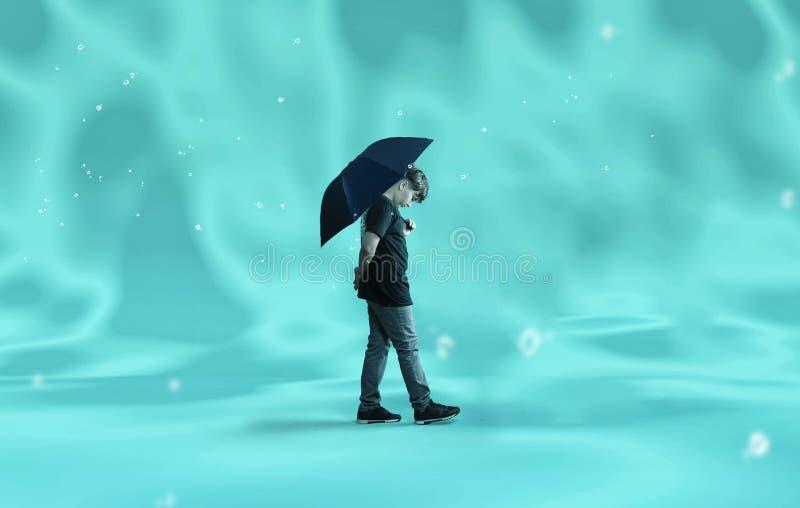 Περπάτημα κάτω από το νερό Άτομο περπατά κάτω από το νερό κρατώντας ομπρέλα στοκ φωτογραφίες