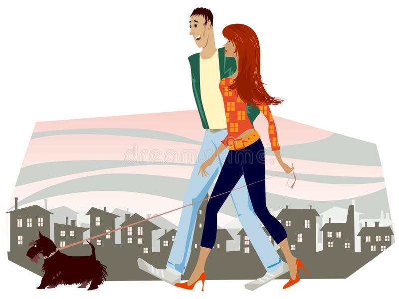 περπάτημα σκυλιών ζευγών ελεύθερη απεικόνιση δικαιώματος