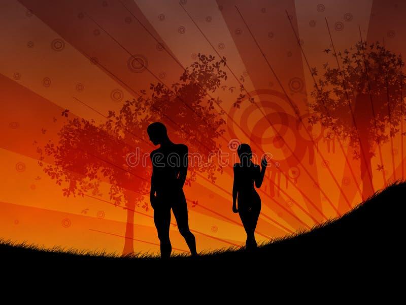 Περπάτημα στο ηλιοβασίλεμα ελεύθερη απεικόνιση δικαιώματος