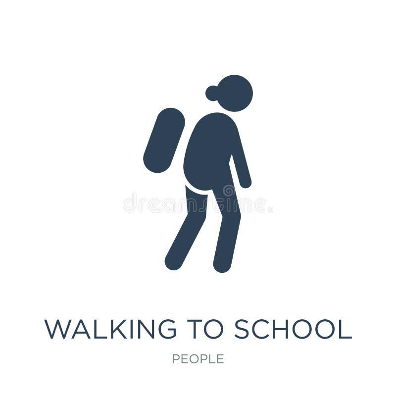 περπάτημα στο σχολικό εικονίδιο στο καθιερώνον τη μόδα ύφος σχεδίου περπάτημα στο σχολικό εικονίδιο που απομονώνεται στο άσπρο υπ ελεύθερη απεικόνιση δικαιώματος