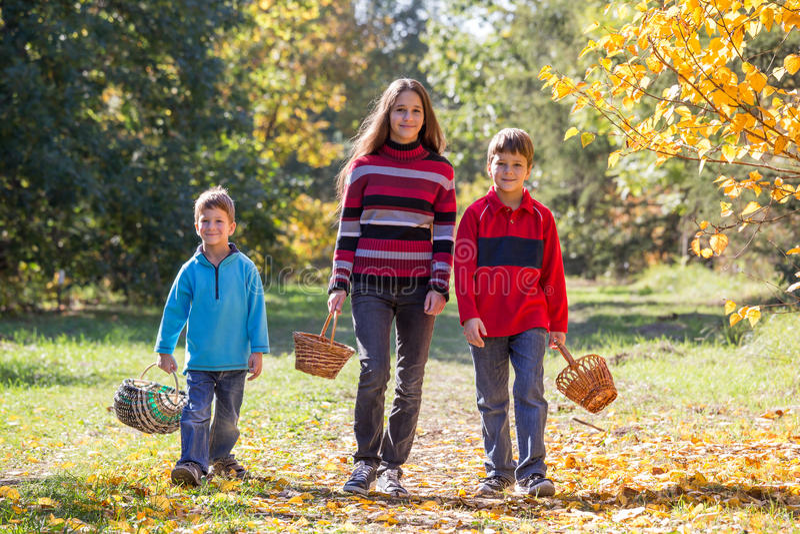 Περπάτημα χαμόγελου τρία στο δάσος φθινοπώρου με τα καλάθια στοκ εικόνες με δικαίωμα ελεύθερης χρήσης