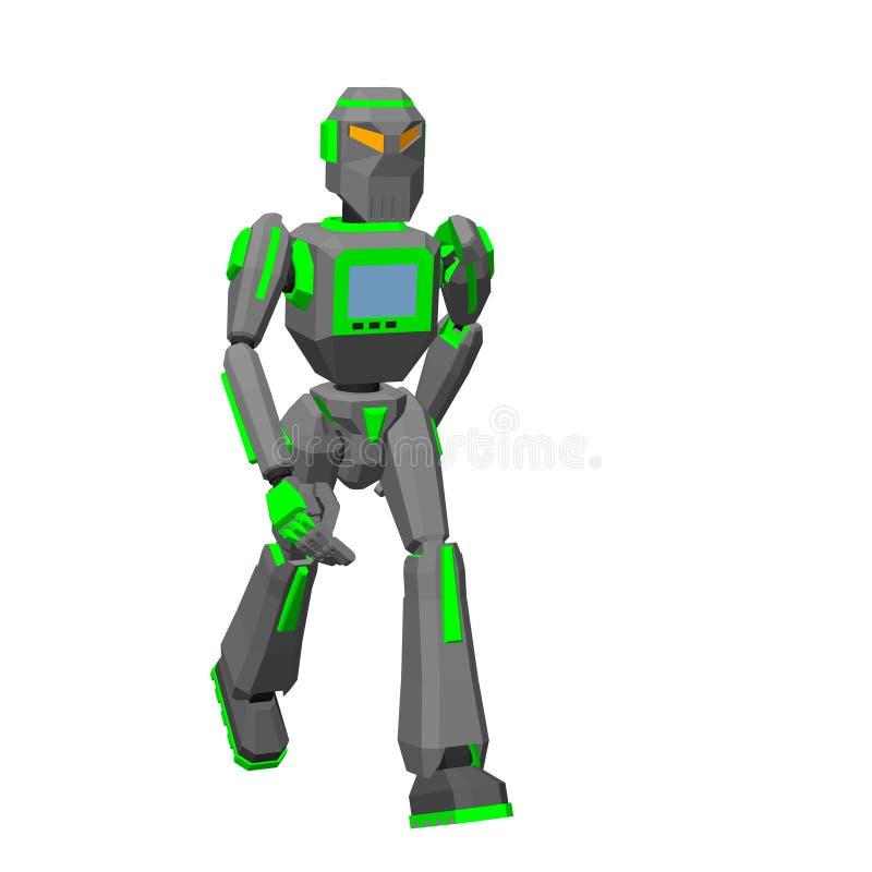 Περπάτημα χαρακτήρα ρομπότ η ανασκόπηση απομόνωσε το λευκό Διανυσματικό IL απεικόνιση αποθεμάτων