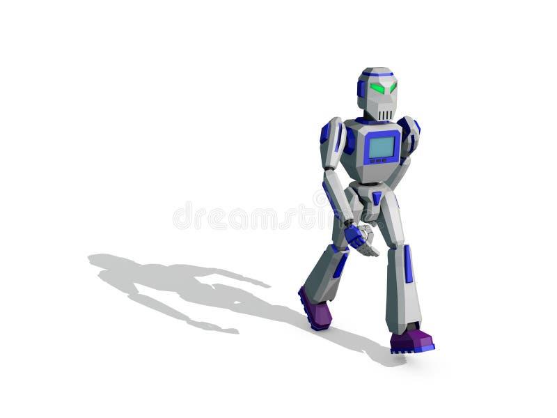 Περπάτημα χαρακτήρα ρομπότ τρισδιάστατη δίνοντας απεικόνιση απεικόνιση αποθεμάτων