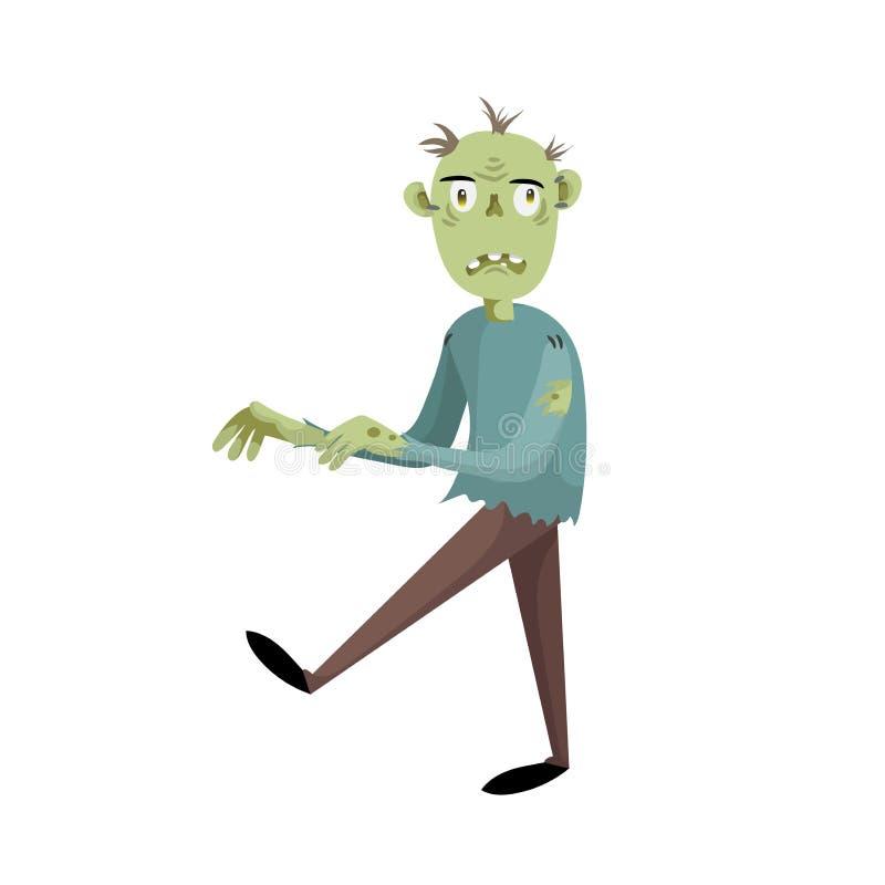 Περπατώντας απογοητευμένος zombie άτομο χαρακτήρας κινούμενων σχεδίων ελεύθερη απεικόνιση δικαιώματος