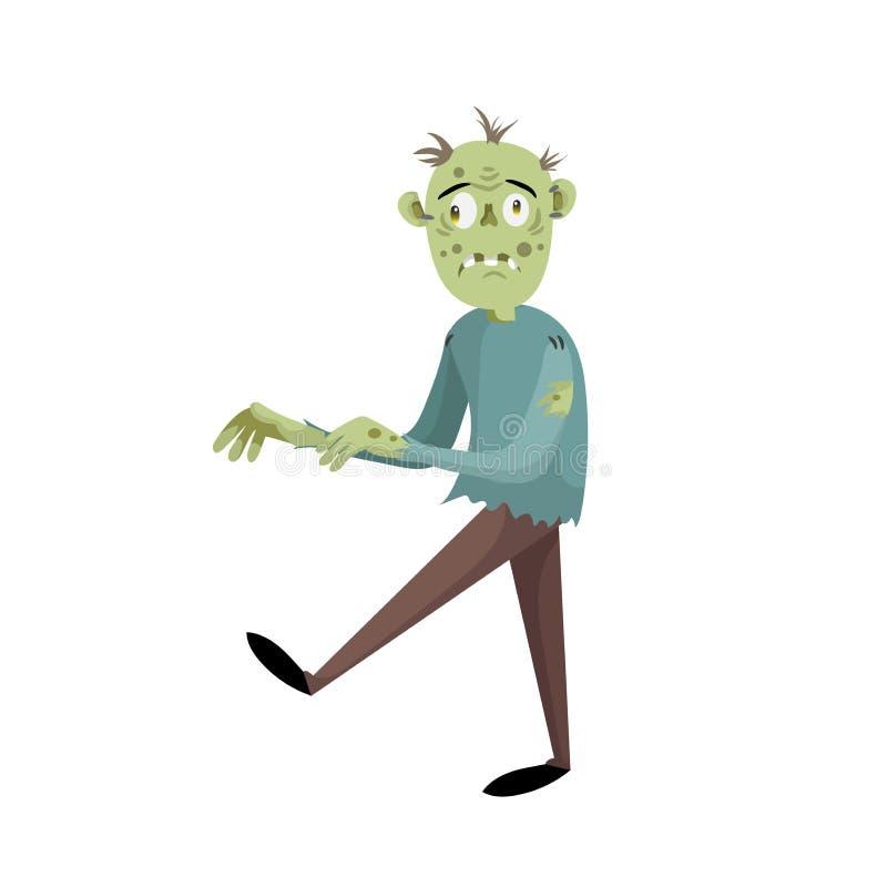 Περπατώντας απογοητευμένος zombie άτομο χαρακτήρας κινούμενων σχεδίων Απλό διάνυσμα κλίσης κομμάτων αποκριών διανυσματική απεικόνιση