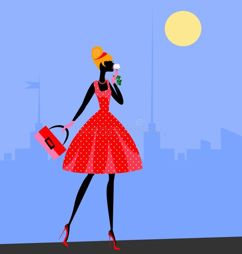 Περπατώντας κορίτσι στο κόκκινο ελεύθερη απεικόνιση δικαιώματος
