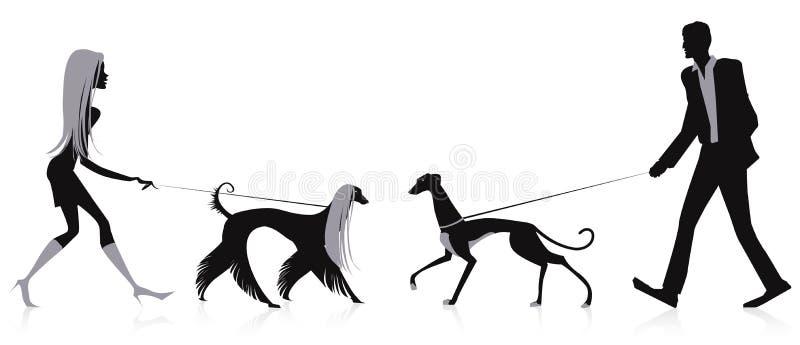 Περπατώντας σκυλιά ελεύθερη απεικόνιση δικαιώματος