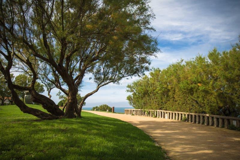 Περπατώντας στην όμορφη παράκτια διάβαση που επισκέπτεται θαυμάσιο φυσικό seascape Μπιαρίτζ, βασκική χώρα στοκ εικόνα με δικαίωμα ελεύθερης χρήσης