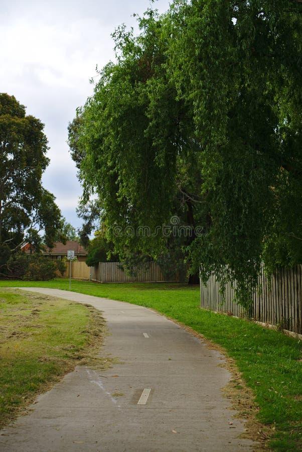 περπατώντας την πορεία σταθμεύστε δημόσια με τα τεράστια δέντρα αυξανόμενος πέρα από το φράκτη στοκ εικόνα με δικαίωμα ελεύθερης χρήσης