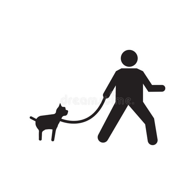 Περπατώντας το διανυσματικά σημάδι και το σύμβολο εικονιδίων σκυλιών που απομονώνονται στο άσπρο υπόβαθρο, που περπατά την έννοια ελεύθερη απεικόνιση δικαιώματος