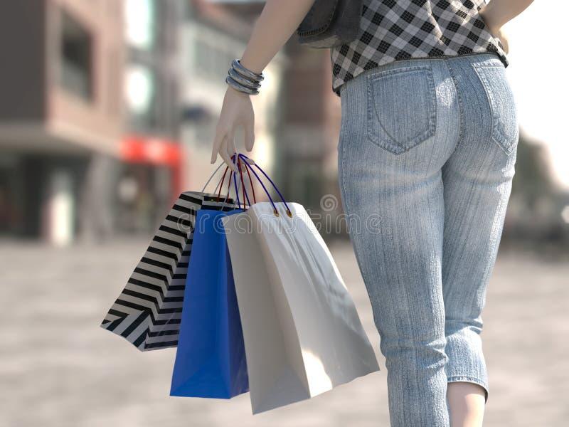 Περπατώντας τσάντα εκμετάλλευσης γυναικών αγορών στοκ εικόνες