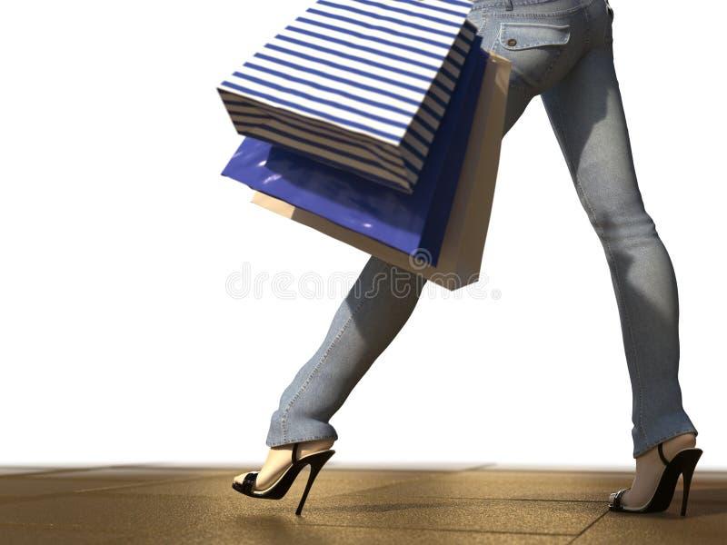 Περπατώντας τσάντα εκμετάλλευσης γυναικών αγορών στοκ φωτογραφίες