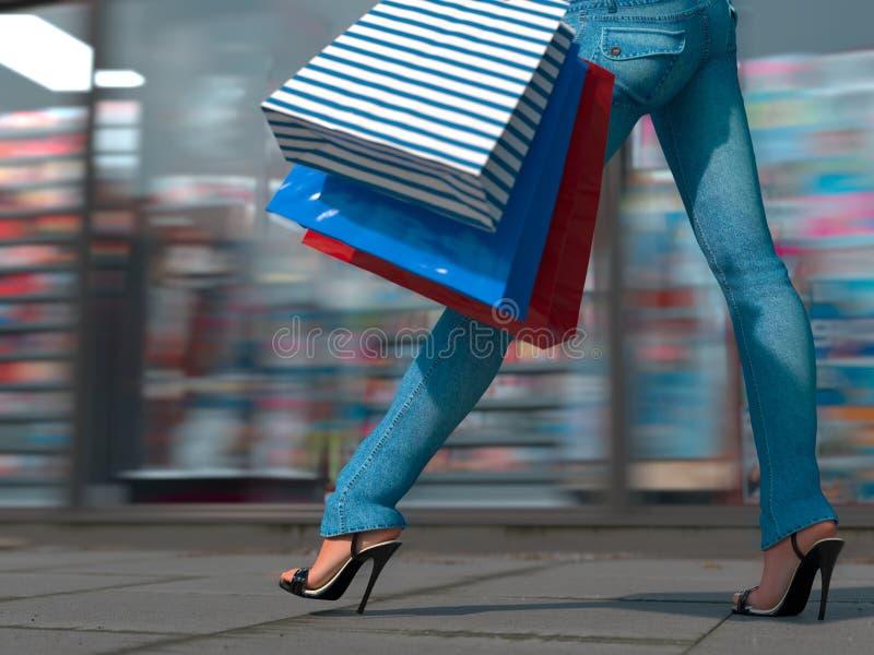 Περπατώντας τσάντα εκμετάλλευσης γυναικών αγορών στοκ φωτογραφία με δικαίωμα ελεύθερης χρήσης