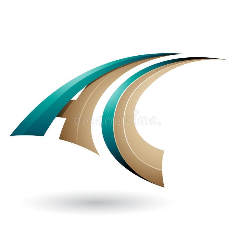 Περσικό πράσινο και μπεζ δυναμικό πετώντας γράμμα Α και Γ που απομονώνονται σε ένα άσπρο υπόβαθρο απεικόνιση αποθεμάτων