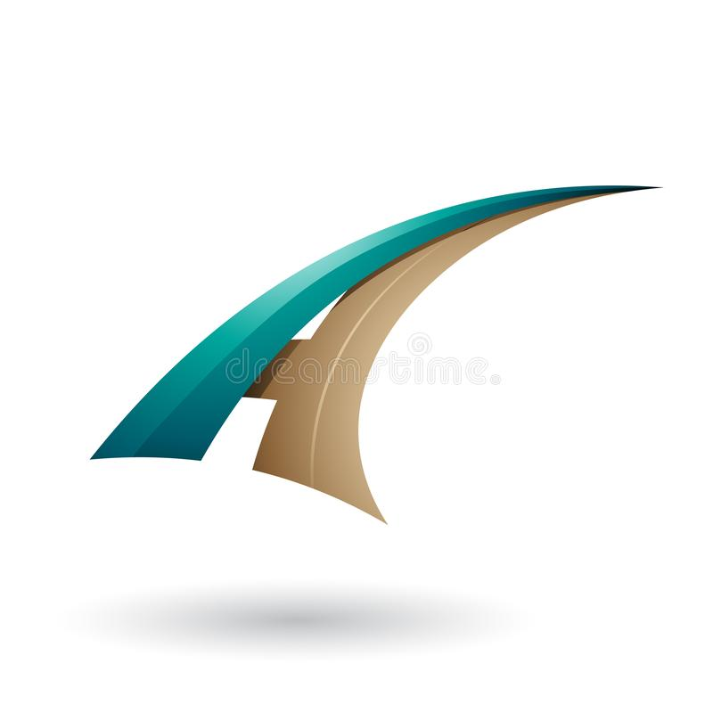 Περσικό πράσινο και μπεζ δυναμικό πετώντας γράμμα Α που απομονώνεται σε ένα άσπρο υπόβαθρο απεικόνιση αποθεμάτων