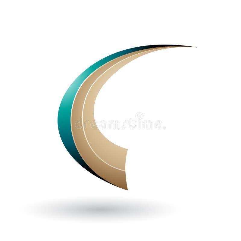 Περσικό πράσινο και μπεζ δυναμικό πετώντας γράμμα Γ που απομονώνεται σε ένα άσπρο υπόβαθρο ελεύθερη απεικόνιση δικαιώματος