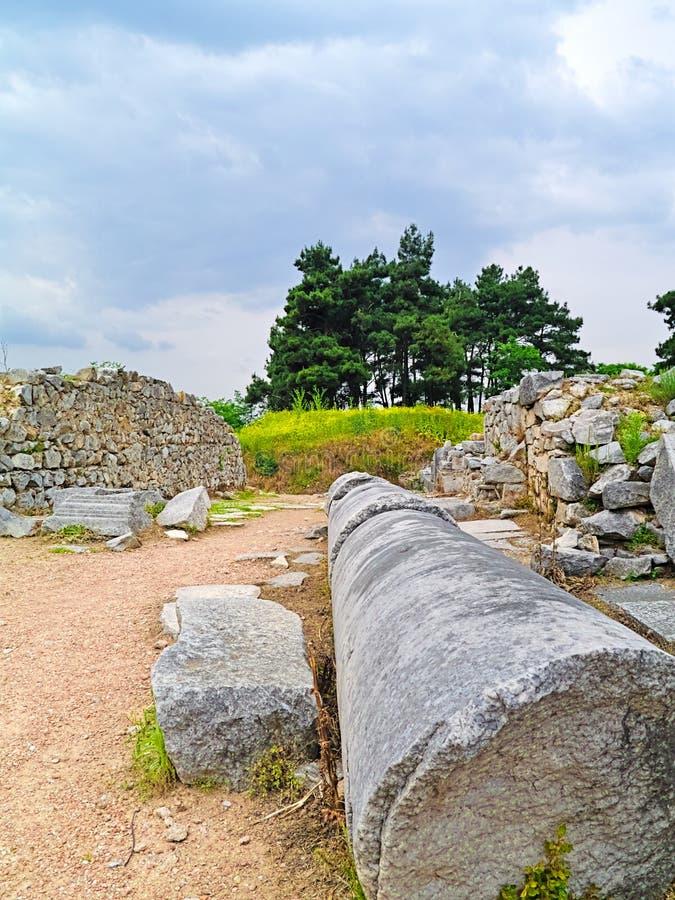 Πεσμένη στήλη στην αρχαία περιοχή Filipoi στοκ φωτογραφία με δικαίωμα ελεύθερης χρήσης