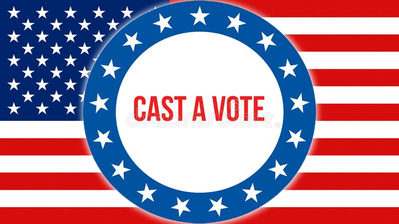 Πετάξτε μια εκλογή ψηφοφορίας σε ένα ΑΜΕΡΙΚΑΝΙΚΟ υπόβαθρο, τρισδιάστατη απόδοση Σημαία των Ηνωμένων Πολιτειών της Αμερικής που κυ ελεύθερη απεικόνιση δικαιώματος