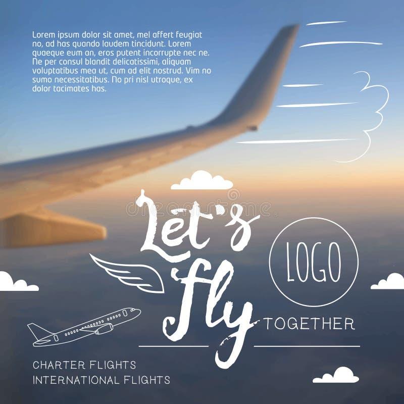 Πετάξτε την τυπογραφική αφίσα αερογραμμών απεικόνιση αποθεμάτων