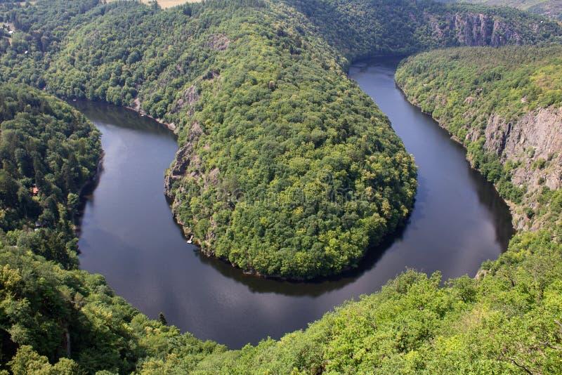 Πεταλοειδής μαίανδρος Maj, πλεονεκτική θέση κοντά στην Πράγα, Γ ποταμών Vltava στοκ εικόνα με δικαίωμα ελεύθερης χρήσης