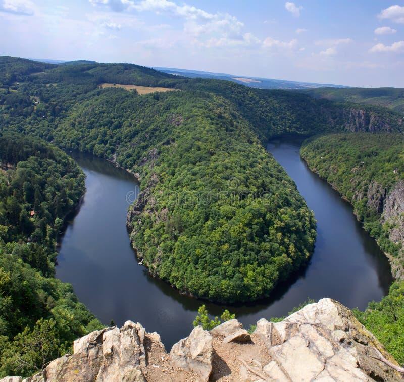 Πεταλοειδής μαίανδρος Maj, πλεονεκτική θέση ποταμών Vltava κοντά στην Πράγα μέσα στοκ φωτογραφία