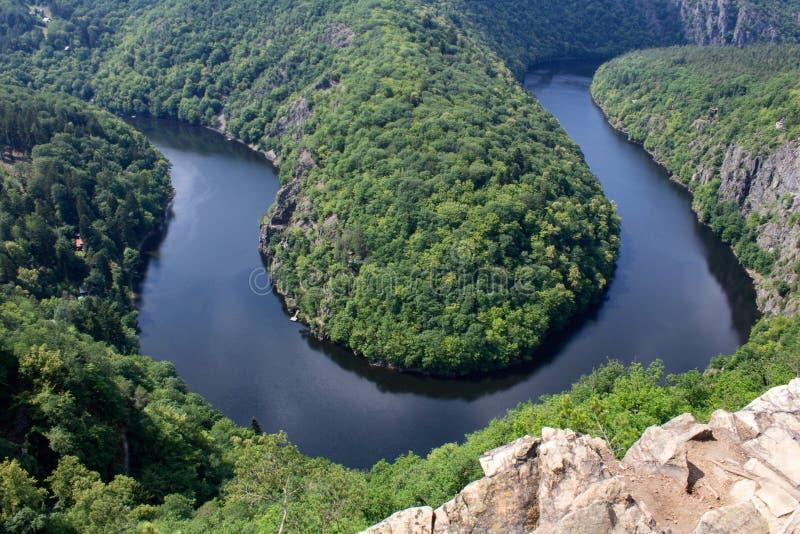 Πεταλοειδής μαίανδρος Maj, πλεονεκτική θέση, τσεχικό republi ποταμών Vltava στοκ φωτογραφία