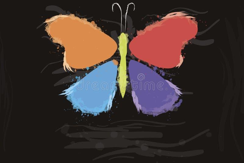 Πεταλούδα από τους παφλασμούς χρώματος απεικόνιση αποθεμάτων