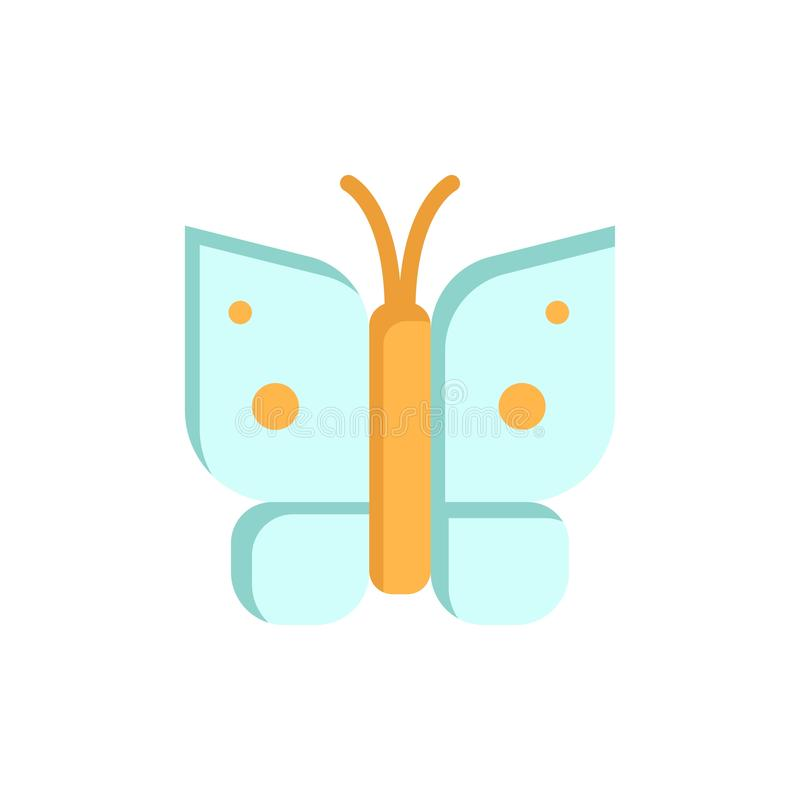 Πεταλούδα, ελευθερία, έντομο, επίπεδο εικονίδιο χρώματος φτερών Διανυσματικό πρότυπο εμβλημάτων εικονιδίων διανυσματική απεικόνιση