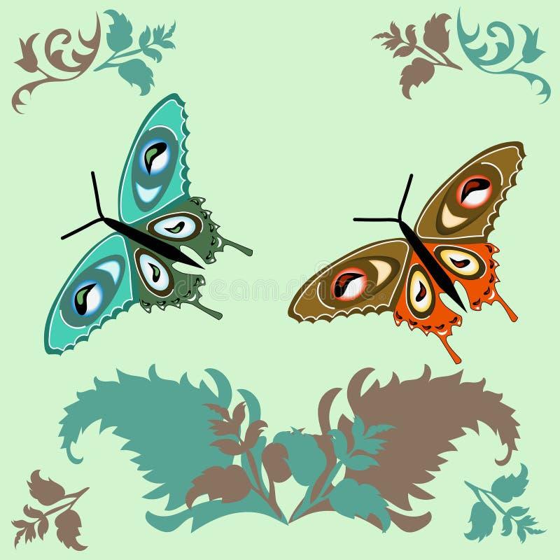 Πεταλούδα ευχετήριων καρτών πράσινα μιας στα ανοικτό πράσινο υποβάθρου φύσης απεικόνιση αποθεμάτων